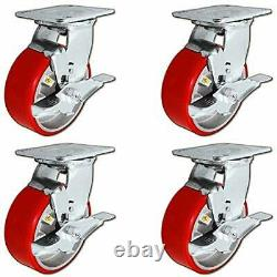 5 x 2 Heavy Duty Swivel Caster Set of 4 Red Polyurethane on Steel Core with