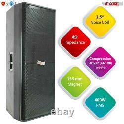 5Core 2 X15 Inch PA DJ 1800 W PMPO PRO Wooden Speaker Passive Monitor 8 OHMS