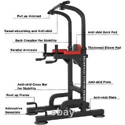 Adjustable Power Tower Workout Dip Station Indoor Strength Core Training Fitness