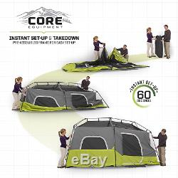 CORE 9 Person Instant Cabin Tent with H2O Block Technology & Large T-Door 14' x 9