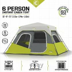 CORE Instant Cabin 11 x 9 Foot 6 Person Cabin Tent with Air Vents Gray/Green