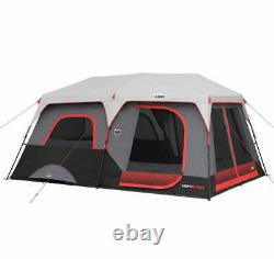 Core 10 person Lighted Instant Cabin Tent Camping LED Lighting 2 Minute Set-up