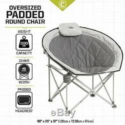 Core Equipment Folding Oversized Padded Moon Round Saucer Chair (Gray)
