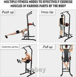 Dip Station Chin Up Bar Power Tower Pull Push Home Gym Fitness Core Heavy Duty