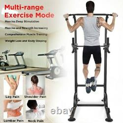 Dip Station Chin Up Bar Power Tower Pulls Push Home Gym Fitness Core Heavy Duty