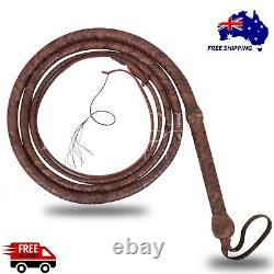 Genuine Leather Bull Whip 12 Ft Long, 16 Plaits Heavy Duty Cow Hide Core Whips