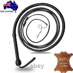 Genuine Leather Bull Whip 12 Ft Long 16 Plaits Heavy Duty Cow Hide Core Whips AU