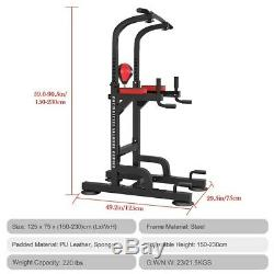 Heavy Duty Dip Station Power Tower Pull Push Chin Up Bar Home Gym Fitness Core B