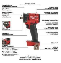 Milwaukee 2854-20 M18 3/8 Drive Stubby Impact Wrench With 2 M18 XC 8.0 And 3.0