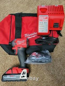 Milwaukee M18 2853-20 FUEL Impact Driver 1/4 2x HO 3.0 Ah Batteries Kit Charger
