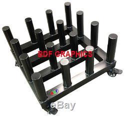 New Heavy Duty Vinyl Cart Media Mobile Storage Rack, 3 core, 16-Roll capacity
