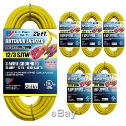 US Wire 25-FT 12/3 SJTW Heavy Duty Extension Cord (YellowithLighted Plug, 6-Pk)