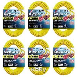 US Wire 74050 50-Foot Heavy Duty Lighted Plug Extension Cord (Yellow, 6-Pack)