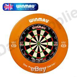 Winmau Blade 5 Dual Core Dartboard & Heavy Duty BDO Printed Surround in Orange